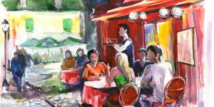 summer cafe on the street (series U)